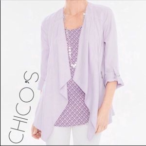 Chico's lilac waterfall open front jacket 1 8 S
